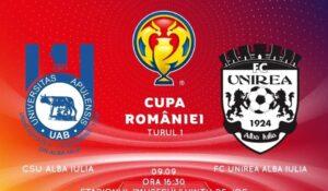 Astăzi se joacă în Cupa României, CS Universitatea Alba Iulia – Unirea Alba Iulia (LIVE TEXT AICI) și Arieșul Mihai Viteazu – Industria Galda de Jos!